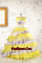 Popular Beading Yellow Sweet 15 Dresses with Sweep Train FNAO754AFOR