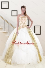Popular Strapless White 2015 Quinceanera Dresses with Appliques XFNAO427FOR