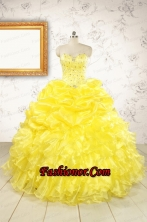 Popular Sweetheart Yellow Quinceanera Dresses with Beading FNAOA03FOR