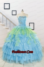 Pretty Beading Strapless Multi-color Quinceanera Dress for 2015 FNAO255FOR