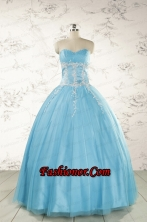 Pretty Beading and Appliques Quinceanera Dresses in Aqua Blue for 2015 FNAO5977-3FOR