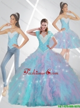 Pretty Multi Color Quinceanera Dresses with Beading and Ruffles for 2015 Fall SJQDDT80001FOR