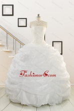 Puffy White Beading Quinceanera Dresses for 2015 FNAO186CFOR