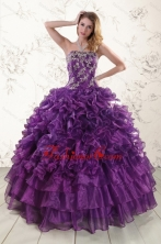 Purple Strapless 2015 Quinceanera Dress with Appliques XFNAO244FOR