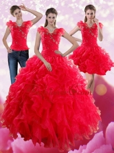 Red Sweetheart Quince Dresses with Ruffles and Beading for 2015 XFNAO293TZA1FOR
