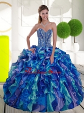 Remarkable Beading and Ruffles Sweetheart 2015 Sweet 15 Dresses in Multi Color QDDTA55002FOR