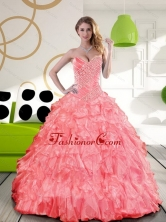 Remarkable Sweetheart 2015 Quinceanera Dress with Beading and Ruffles QDDTC24002FOR