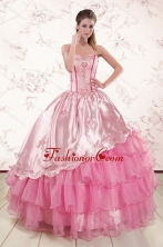 Remarkble Sweetheart Pink Quinceanera Dresses with Embroidery XFNAO417FOR