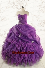 Romantic Purple Ball Gown 2015 Quinceanera Dress with Appliques and Ruffles FNAO5845FOR