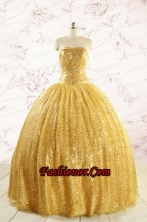 Romantic Sequins Yellow Quinceanera Dress with Strapless FNAO45FOR