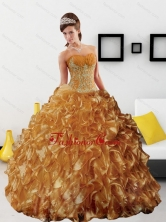 Sturning Appliques and Ruffles 2015 Quinceanera Dress in Gold QDDTB17002FOR