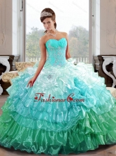 The Super Hot Sweetheart 2015 Quinceanera Gown with Appliques and Ruffled Layers QDDTB25002-1FOR