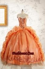 Unique Appliques Brush Train Quinceanera Dresses in Orange FNAO5750-2FOR