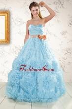 Unique Beading Aqua Blue 2015 Quinceanera Dresses XFNAO5833FOR