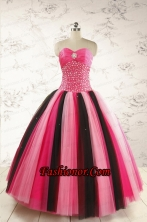Unique Multi-color 2015 Quinceanera Dresses with Beading FNAO5884FOR