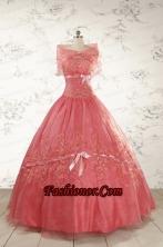 Watermelon Cheap Appliques Quinceanera Dresses for 2015 FNAO099AFOR