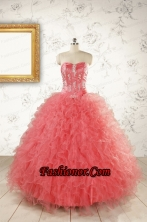 Watermelon Red Exquisite Quinceanera Dresseswith Appliques and Ruffles FNAO805FOR