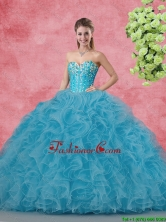 Wonderful Ball Gown Quinceanera Gowns with Beading and Ruffles SJQDDT100002FOR