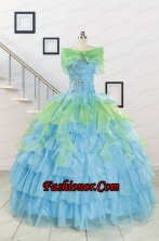 Wonderful Multi-color Strapless Beading Quinceanera Dress for 2015 FNAO255AFOR