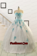 2015 Affordable White Quinceanera Dresses with Appliques FNAO816FOR