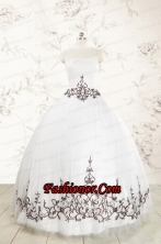 2015 Appliques Strapless Ball Gown White Tulle Quinceanera Dress FNAO225FOR