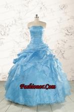 2015 Aqua Blue Hot Sale Appliques Quinceanera Dresses FNAO072FOR