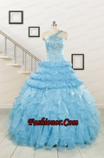 2015 Baby Blue One Shoulder Sweet 15 Dresses with Beading FNAO254FOR