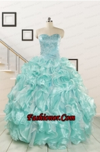 2015 Beautiful Beading Quinceanera Dresses in Apple Green FNAO5825FOR