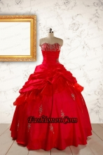 2015 Beautiful Beading Sweetheart Quinceanera Dress in Red FNAO217FOR