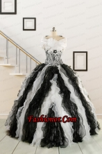 2015 Black and White Sweetheart Dress for Quinceanera with Ruffles  FNAO776BFOR
