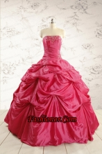 2015 Cheap Appliques Quinceanera Dresses in Hot Pink  FNAO585FOR