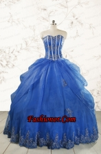 2015 Cheap Appliques Quinceanera Dresses in Royal Blue FNAO110FOR