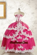 2015 Cheap Hot Pink Quinceanera Dresses with Appliques FNAO5740FOR