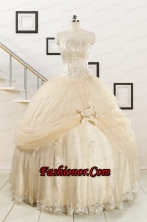 2015 Classical Appliques and Hand Made Flower Quinceanera Dresses in Champagne FNAO121FOR