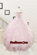 2015 Cute Baby Pink Quinceanera Dresses with Beading and Ruffles FNAO818FOR