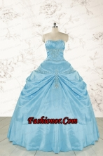 2015 Discount Strapless Appliques Sweet 15 Dress in Aqua Blue FNAO087FOR