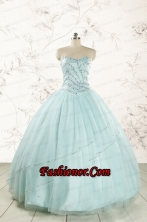 2015 Exclusive Apple Green Quinceanera Dresses with Reinstones FNAOA02FOR