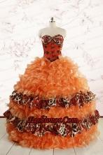 2015 Exquisite Sweetheart Leopard Quinceanera Dresses in Orange FNAO708FOR