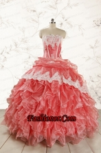 2015 Fashionable Strapless Watermelon Quinceanera Dresses FNAO018FOR
