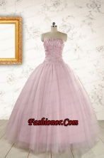 2015 Light Pink Strapless Simple Sweet 16 Dresses with Appliques FNAO896FOR