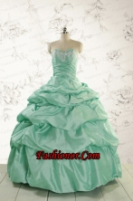 2015 Luxurious Apple Green Quinceanera Dress with Beading and Pick Up FNAO5780-2FOR