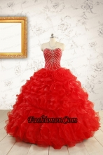 2015 Luxurious Sweetheart Beading Red Quinceanera Dresses FNAO092FOR