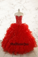 2015 Most Popular Red Quinceanera Dresses with Beading FNAO5793FOR