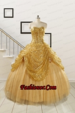 2015 Most Popular Sweetheart Sequined Quinceanera Dresses in Gold FNAO286FOR
