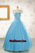 2015 New Style Beading Sweet 15 Dresses in Aqua Blue FNAO5977-6FOR