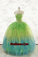 2015 New Style Beading and Ruffles Quinceanera Dresses in Multi-color FNAO5786FOR