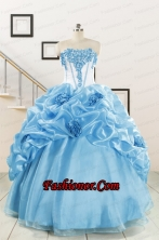 2015 New Style Sweetheart Baby Blue Quinceanera Dresses with Appliques FNAO592FOR