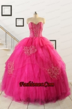 2015 Pretty Appliques Dresses For 15 in Hot Pink  FNAO818_1FOR