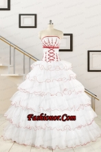 2015 Pretty Appliques Quinceanera Dresses with Strapless FNAO415FOR