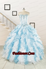 2015 Pretty Appliques and Ruffles Quinceanera Dresses in Multi-color FNAO056FOR